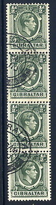 Gibraltar 1938-51 Kgvi ½D Deep Green Coil Join Strip Of Four Very Fine Cds Used