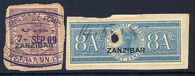 Zanzibar 1892 Revenue 1A & 8A Used On Individual Pieces. Barefoot Numbers 1 & 3.
