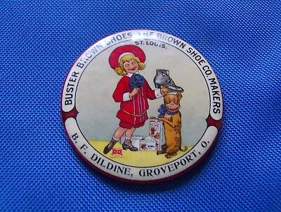Rare Buster Brown Shoes B. F. Dildine Groveport Ohio Celluloid  Pocket Mirror