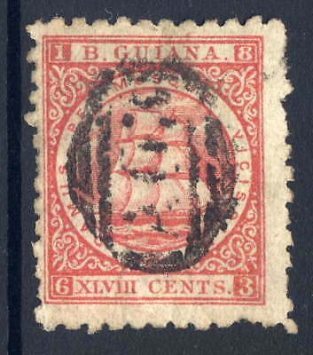 "British Guiana 1866-71 Ship 48C Crimson With Stop After ""p"" Variety Duplex Used"