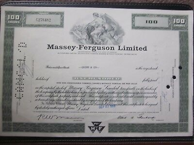 Massey-Ferguson Limited Stock Certificate 100 shares 1969
