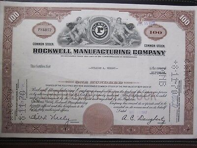 Rockwell Manufacturing Company  Stock Certificate 100 shares 1967