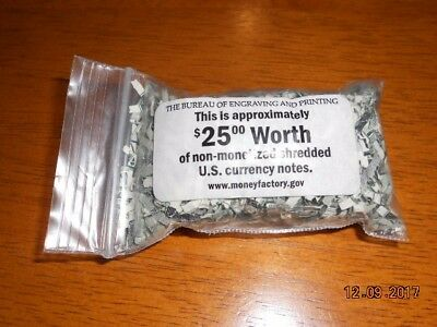 The bureau of engraving and printing $25 of shredded currency in souvenir bag.