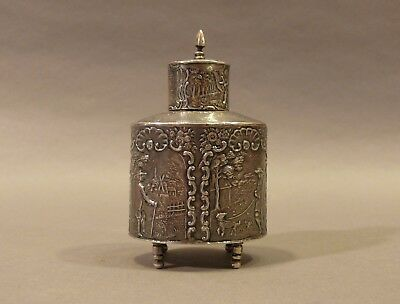 Antique Mid 19thC Fine Silver Repousse Continental Tea Caddy