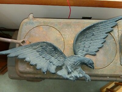 "25"" LARGE Vtg Cast Black Aluminum Iron? American Eagle Wall Hanging Plaque"