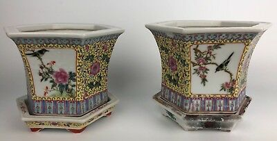 A Pair of Antique Chinese Famille Rose Porcelain Hexagonal Planters on Stands