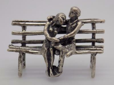 Vintage Solid Silver Italian Made Lovers on a Bench Miniature, Figurine, Stamped