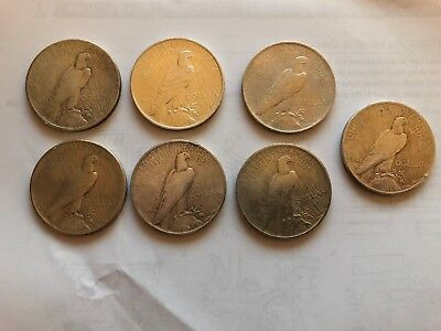 7 x PEACE Dollar  diverse  Silber   One Dollar USA
