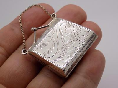 Vintage Sterling Silver 925 Italian Made Purse Shaped Pill / Snuff Box, Stamped