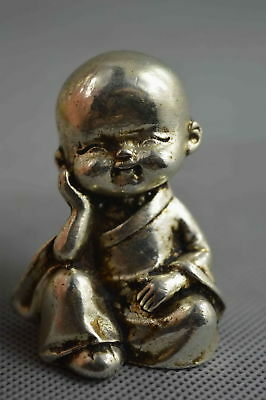 Collectable Handwork Decor Old Miao Silver Carve Smile Buddha Auspicious Statue