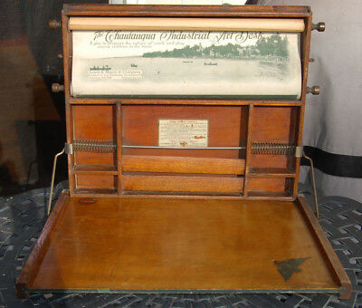 Antique Louis E Meyer Chautaugua Industrial Arts Desk 1913 With Scroll Portable