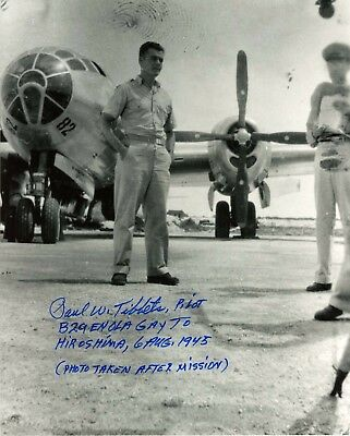 ENOLA GAY Tibbets signed RARE photo Hiroshima  BOCKSCAR