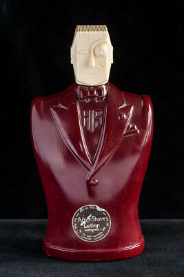 Art Deco Style 'His' Burgundy Glass and Cream Bakelite Aftershave Bottle