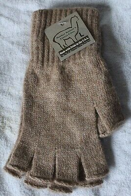 """Alpaca Gloves - Fingerless """"Texting"""" (Made in USA) Size L - Lt. Brown"""