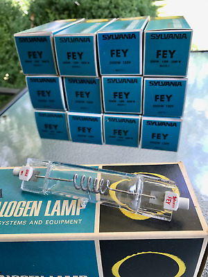 Two (2) FEY Sylvania 2000w 120v 3200 K Tungsten Lamps / Bulbs in Box