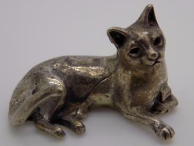 Vintage Solid Silver Italian Made Cat Figurine, Miniature, Dollhouse, Stamped