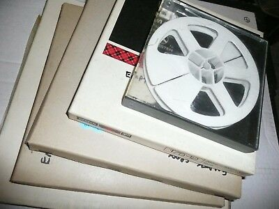 """5 boxed / cased empty spools for 8mm cine reel film, sizes 5"""", 7"""", 8"""", 10"""""""