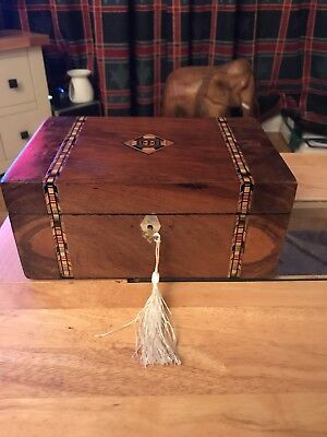 Antique Victorian Walnut Jewellery/trinket Box, Tunbridge Inlay, Mop & Lock/key.