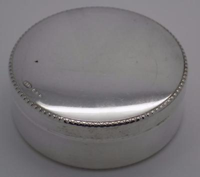 Vintage Solid Silver Italian Made Round Pill / Snuff Box, Stamped, Closed Firmly