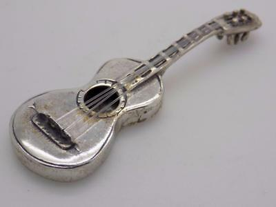 Vintage Solid Silver Italian Made Guitar Miniature, Figurine, Stamped