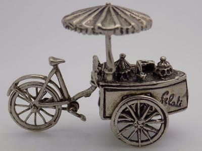 Vintage Solid Silver Italian Made Ice Cream Cart Miniature, Figurine, Stamped