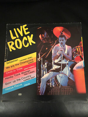 QUEEN Live Rock (10 Songs) EMI GREECE Sampler / Freddie Mercury LP Cover - Vinyl