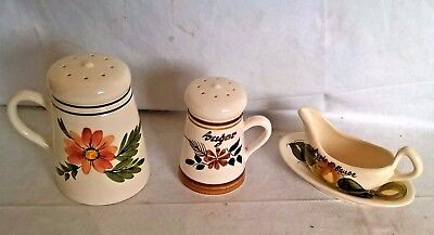 collection of  Pottery  Toni Raymond Flour, sugar sifter  Apple Sauce Boat
