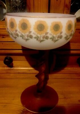 Vintage Glass Bowl On Glass Twisted Stem
