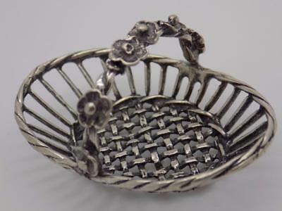 Vintage Solid Silver Italian Made Basket Flower Miniature, Figurine, Stamped