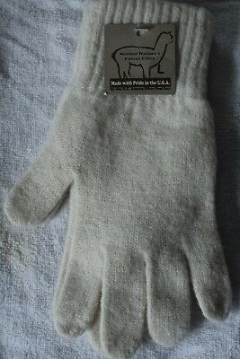 Alpaca Gloves - (Made in USA) Size Large Ivory