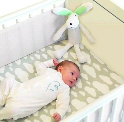 Safe Dreams 2 Sided Cot Borders Bumpers Wrap with 100% cotton surface White