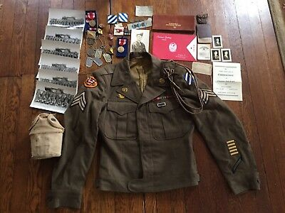 WWII U.S. 3rd Infantry Division Tank Destroyer Ike Jacket Patches Bars Medals ++