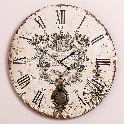 Extra Large Antique French Vintage Style Wall Clock Shabby Chic Round Pendulum