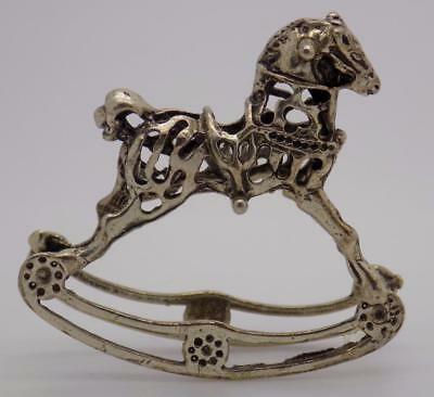 Vintage Solid Silver Italian Made Toy Rocking Horse Miniature, Figurine, Stamped