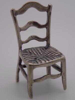 Vintage Solid Silver Italian Made Chair Miniature, Figurine, Dollhouse, Stamped