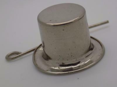 Vintage Solid Silver Italian Made Top Hat & Cane Miniature, Figurine, Stamped