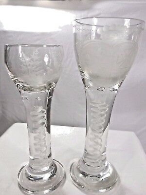Pair of Antique Lead Crystal Glasses w/wheel engraved decor and twist stem. RARE