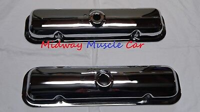NEW Stock Chrome Valve Covers pr 67-79 Pontiac GTO T/A Firebird 400 455 350 428