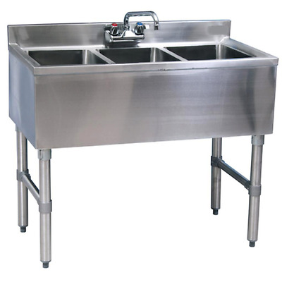 "Stainless Steel 3 compartment Underbar Sink 36"" x 19"" with Faucet & Drain"