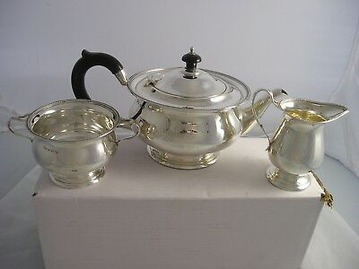 Elkington 1933 Art Deco SILVER 3 PIECE TEASET 715 grams