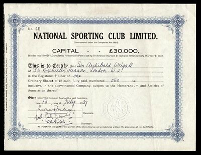 National Sporting Club Limited (1937)