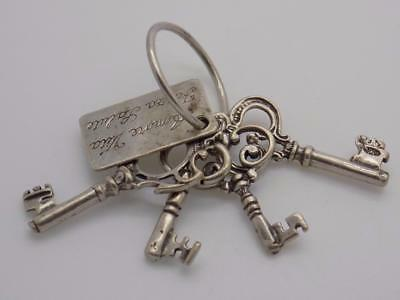 Vintage Solid Silver Italian Made Keys to Happiness, Stamped, Lucky Charms