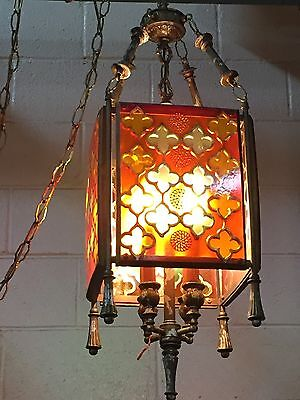 Vintage Stained Glass Swag Light Fixture Chandelier