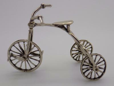 Vintage Solid Silver Italian Made Tricycle Miniature, Figurine, Stamped