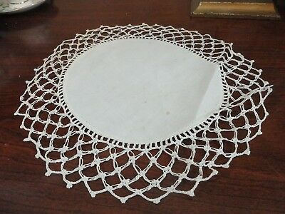 Two 12 in off white doilies very delicate hand crochet lace