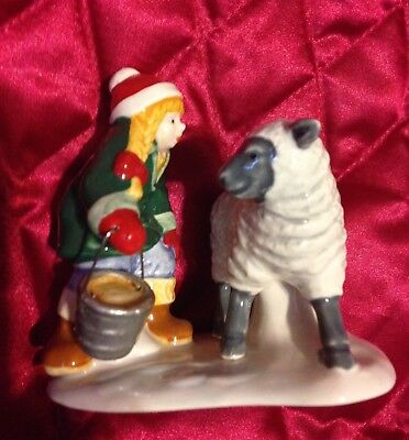 Girl Bucket Feeding Sheep Figurine