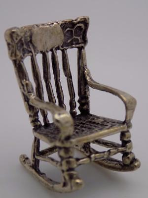 Vintage Solid Silver Italian Made Dollhouse Rocking Chair Miniature, Stamped