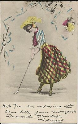 Enthusiastic lady golfer in brightly coloured outfit on 1904 colour postcard