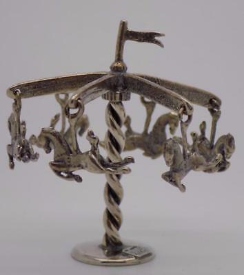 Vintage Solid Silver Italian Made RARE Carousel Miniature, Figurine, Stamped