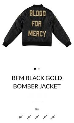 Yellow Claw Blood For Mercy Black and Gold Bomber Jacket Size Large